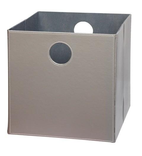 Høj boks i grå PU læder (31005)