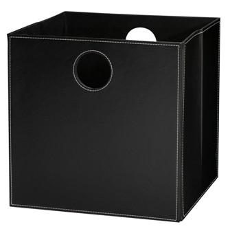 Høj boks i sort PU læder (PT. IKKE PÅ LAGER)