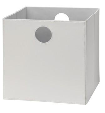 Høj boks i hvid PU læder.