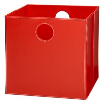 Høj boks i rød PU læder.