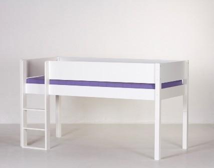 Junior halvhøj seng, hvid