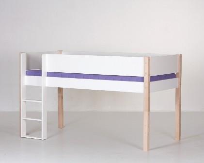 Halvhøj seng, hvid og bøg (90x200)