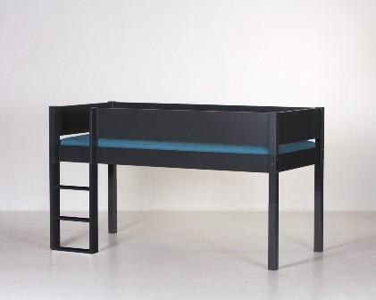 Halvhøj seng, antrazit (90x200)