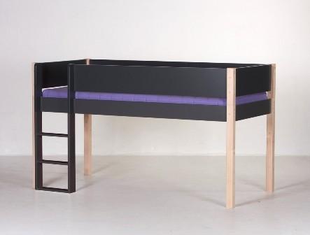Halvhøj seng, antrazit og bøg (90x200)