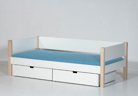 Briks med skuffer, hvid (90x200)
