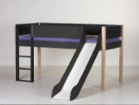 Halvhøj seng m/rutsjebane, antrazit og bøg (90x200)