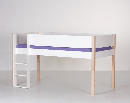 Halvhøj seng (køjeseng), hvid og bøg (90x200)