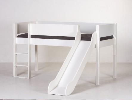 Junior halvhøj seng (køjeseng) m/rutsjebane, hvid