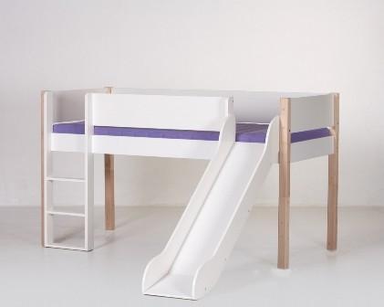 Junior halvhøj seng (køjeseng) m/rutsjebane, hvid og bøg