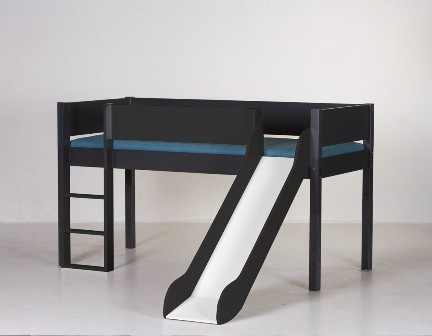 Halvhøj seng (køjeseng) m/rutsjebane, antrazit  (90x200)