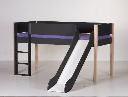 Halvhøj seng (køjeseng) m/rutsjebane, antrazit og bøg (90x200)