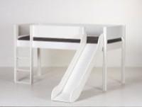 Halvhøj seng (køjeseng) m/rutsjebane, hvid (90x200)