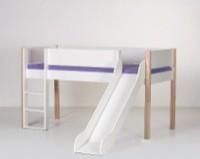 Halvhøj seng (køjeseng) m/rutsjebane, hvid og bøg (90x200)